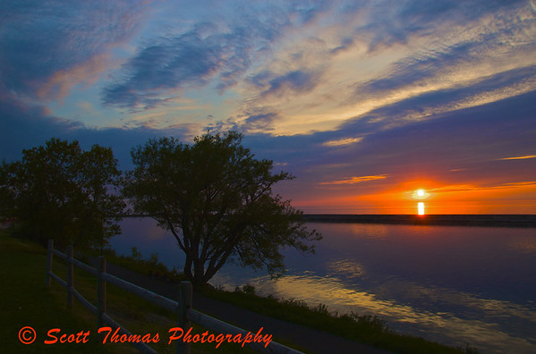 Sunset on Lake Ontario from Breitbeck Park, Oswego, New York.